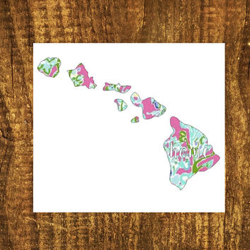 LILLY PULITZER Hawaii Home Decal | Hawaii State Decal | Homestate Decals | Love Sticker | Love Decal  | Car Decal | Car Sticker Bumper | 103