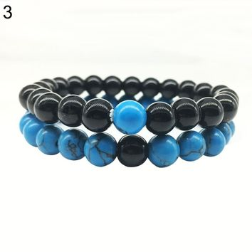 2Pcs/Set Matte Beads Couples Bracelet
