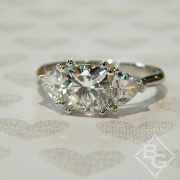 Forever One 2.74 Ct Cushion & Trillion Shaped Colorless Moissanite Three Stone Engagement Ring