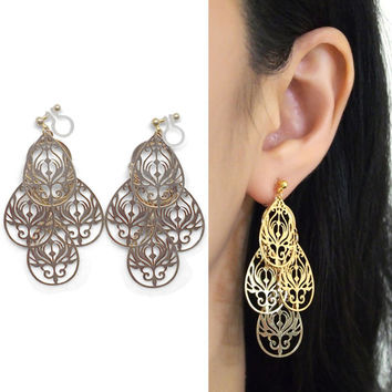 Dangle Chandelier Filigree Gold Invisible Clip On Earrings Boho Clip Earrings Bohemian Clip-ons Statement Earrings Non Pierced Earrings