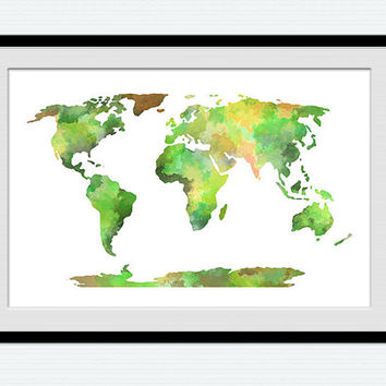 World map watercolor poster, world map illustration in green, world map colorful print, home wall hanging decoration, gift for home,  W141