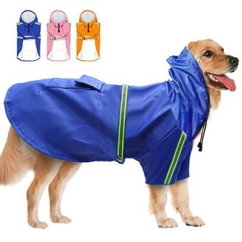 Dog Raincoat Hooded Jackets Reflective Strip 100% Waterproof Coats for Big Medium Dogs