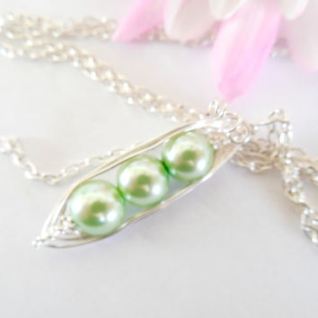 Pea Pod Necklace Four 4 Wire Mother Grandmother  Wrapped with Pearls Customized with Initial Leaf Charms
