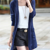 Blue Long Sleeves Cut Out Hooded Cardigan