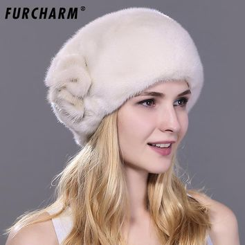 Women's Fur Hats Whole Real Mink Fur Hat with Floral Luxury Fashion Russian Winter Thick Warm High Quality Cap New Arrival