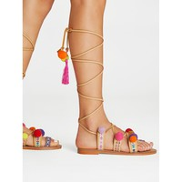 Strappy Gladiator Sandals With Pom Pom