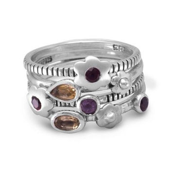 Set of 4 Flower Rings with Amethyst, Garnet and Citrine