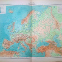 Original Antique Physical Map of Europe 1891 Large French Physical Map of Europe