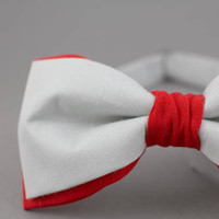 Gray Bow Tie Red Bow Tie Double Color Bow Tie for Men Wedding Bow Tie Modern Bow Tie Mens Bow Tie Red Gift for Men in Gray Bartek Design