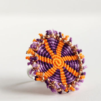Macrame spiral geometric statement ring boho hippie violet orange