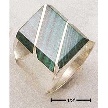 Sterling Silver Ring:  Men's Large Simulated Malachite Rectangular Striped Ring