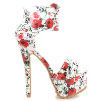 Miley-03 White Skull Floral Open toe Sandal High Heel Shoes
