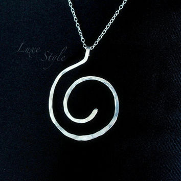 Silver Pendant with chain included Spiral Metal Work, Contemporary modern jewelry