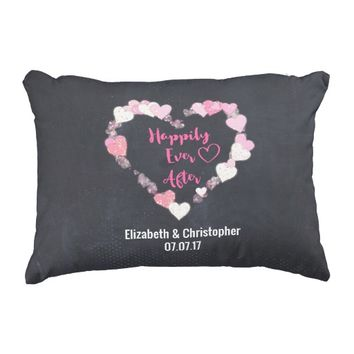 Happily Ever After Glittery Pink Hearts Wedding Accent Pillow