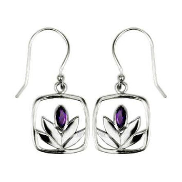 Framed Amethyst Lotus Earrings