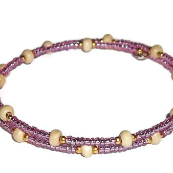 Mauve Glass, Gold Glass & Sandalwood Beaded Artisan Crafted Stackables Bracelet (M-L)