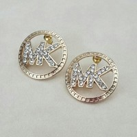 MK round button point drill rhinestone earrings