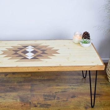 Southwestern Wood Table  - Reclaimed Table with Hairpin Legs - Modern Coffee Table - Boho Table - Wood Wall Art - Wood Coffee Table - Navajo