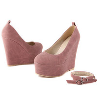 Cheap white yellow blue pink casual cute closed toe ankle strap wedge heels platform pump for women 2013 spring autumn fashion