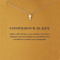 """Beautiful Dainty Key Charm Message Necklace """"Confidence is Key"""" Gold Tone"""