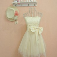 Sweet Sequined Bow Dress beige