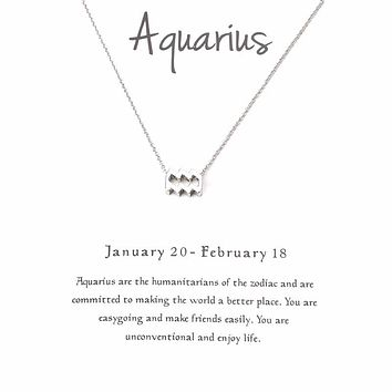 Aquarius Zodiac Constellation Signs Necklace