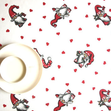 Christmas tablecloth Tomte Elf white gnomes red hearts Holiday decor , napkins , runner , pillow cover , curtains  available, great GIFT