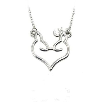 Browning Deer Elk Love Pendant Necklace  Jewelry For Women Men