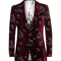 Alexander McQueen - Red Slim-Fit Metallic-Print Velvet Blazer