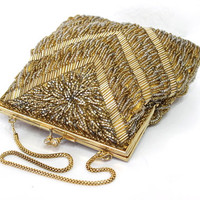 Gold Beaded Satin Purse Vintage Glass Bead Handbag Bag La Regale Gold Frame Chain Strap Wedding Evening Formal clutch