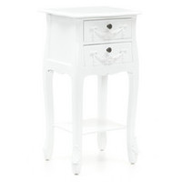 Toulouse White 2 Drawer Nightstand | Dunelm