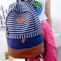 Stripes Canvas Backpack Bags for Girls Ladies
