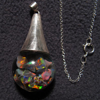 "Lightning Ridge Black Opal Floating Opal pendant - 925 sterling silver Cap and 16"" Rolo link chain Great October Birthstone gift"