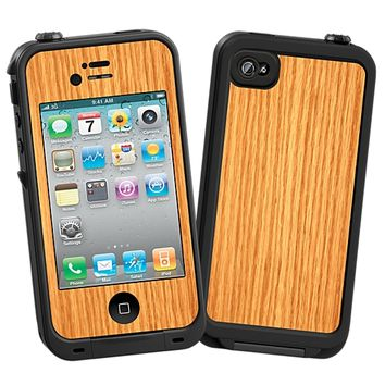 Rift Sawn Red Oak Skin for the iPhone 4/4S Lifeproof Case by skinzy.com