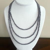3-Strand Silver Beaded Necklace
