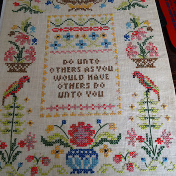 Vintage 1979 Needlepoint Cross-stitch, Linen, Do Unto Others As You Would Have Others Do Unto You, Floral, Parrot Folk Art Needle Craft