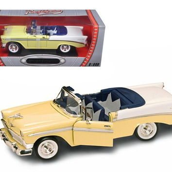 1956 Chevrolet Bel Air Convertible Yellow 1-18 Diecast Model Car by Road Signature