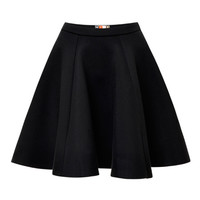 MSGM Pleated Flared Skirt Black