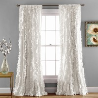Bellamie Boho Romantic Ruffle Window Curtain Panel SET