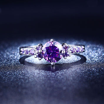 vintage gold plated Purple CZ Diamond Jewelry rings For Women Engagement Wedding party ring Bague Bijoux Accessories MYR 199