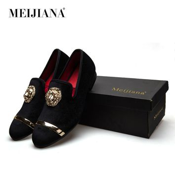 New Fashion Gold Top and Metal Toe Men Velvet Dress shoes italian mens dress shoes Handmade Loafers