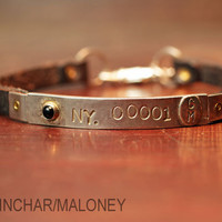 Leather and Solid Sterling Silver  Bracelet - Customize, Personalize