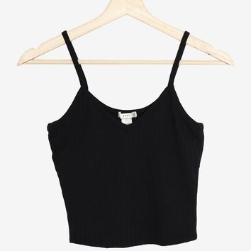 V-neck Cami Crop Top - Black