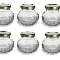 Nakpunar® 6 pcs, 4 oz Round Glass Jars for Jam, Honey, Wedding Favors, Shower Favors, Baby Foods, Canning, spices