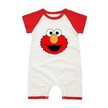 Infant Summer Clothing Short Sleeve Newborn Baby COOKIE MONSTER Summer Jumpsuit Rompers Baby Boy Toddler Clothes
