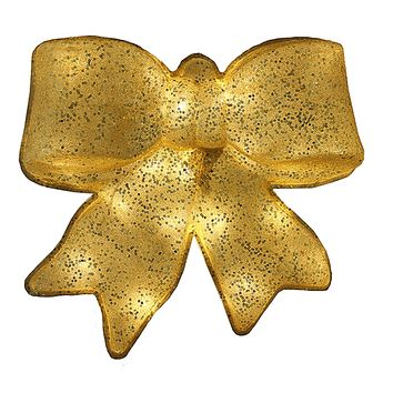 "15.5"" Gold Glittered Battery Operated Lighted LED Christmas Bow Decoration"