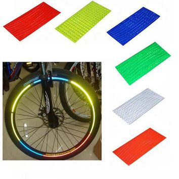 DCCKL72 Fluorescent MTB Bike Bicycle Cycling Motorcycle Wheel Tire Tyre Reflective Stickers Strip Decal Tape Safety Silver