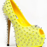 Kiss Kouture GALAXY Rhinestone Gem Studded Spike Platform High Heel Stiletto Peep Toe Party Pump