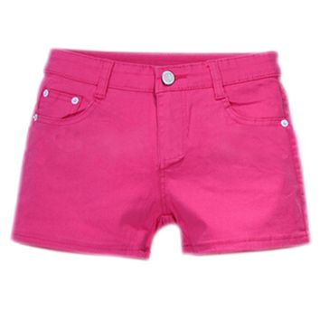 SYB 2016 NEW Summer Denim Shorts Slim Fit Candy Color Short Pants Short Jeans Women Shorts Denim rose red