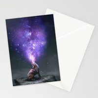 All Things Share the Same Breath (Coyote Galaxy) Stationery Cards by Soaring Anchor Designs